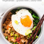 spicy kimchi quinoa bowls with fried egg