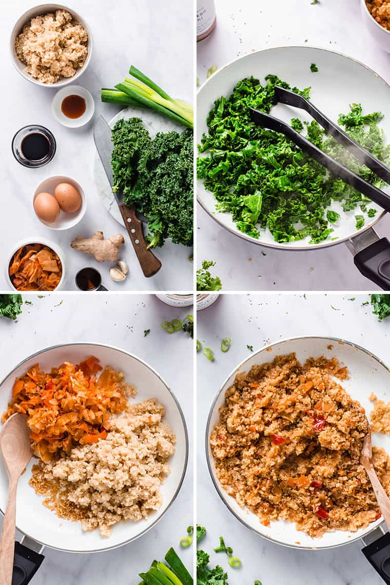 how to make spicy kimchi quinoa bowls in one pan