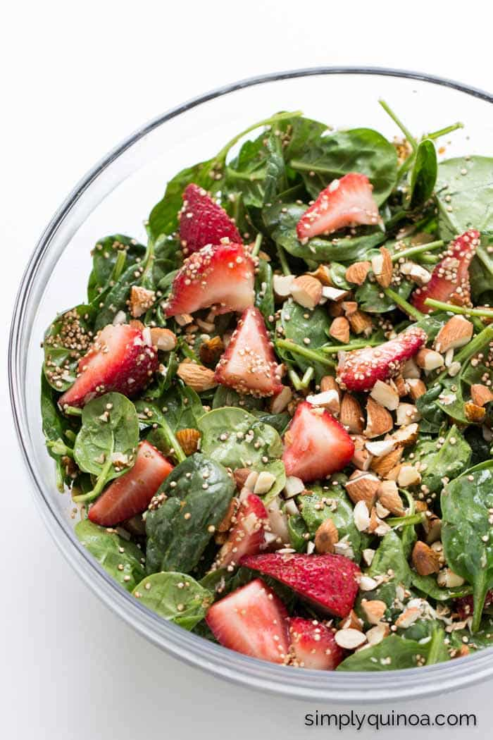 The ULTIMATE summer salad | www.simplyquinoa.com | Strawberry Spinach Salad with Toasted Quinoa and Chopped Almonds
