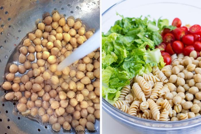 Caesar Pasta Salad made with a vegan dressing, chickpeas, lettuce and tomato