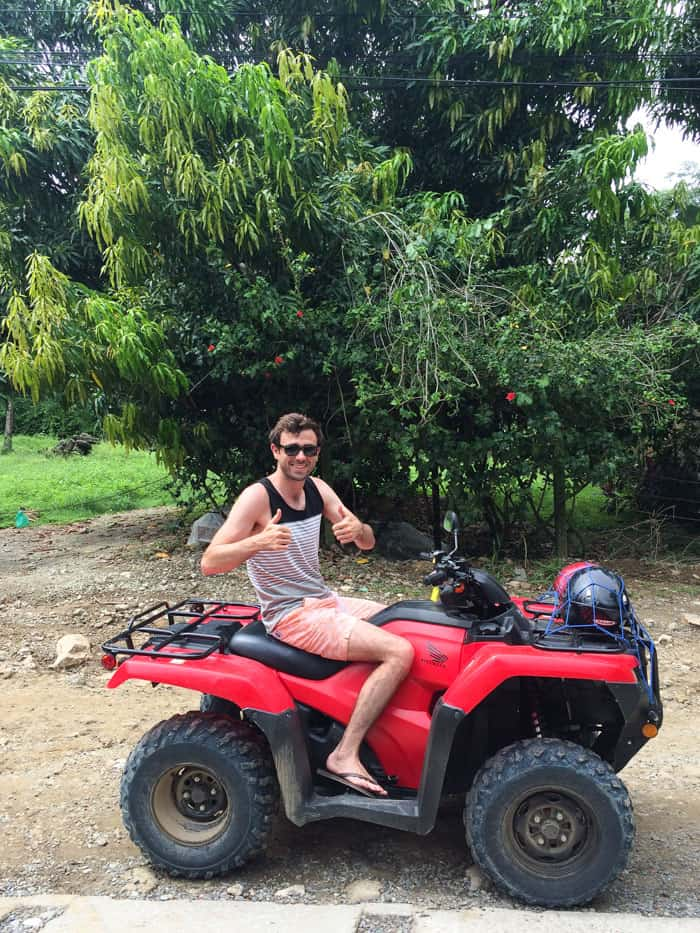 Matt driving the ATV in Santa Teresa, Costa Rica | www.simplyquinoa.com