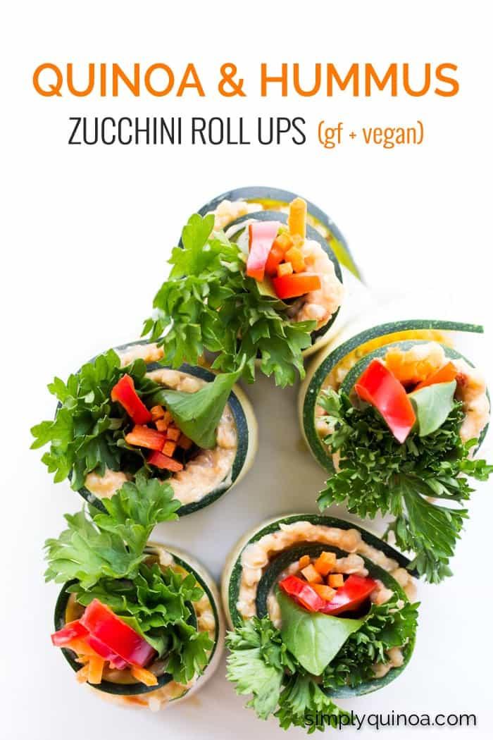My newest FAVORITE snack >> Zucchini Roll Ups with quinoa, hummus and fresh veggies   gluten-free + vegan   recipe on simplyquinoa.com