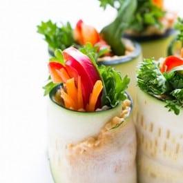 Quinoa + Hummus Zucchini Roll Ups