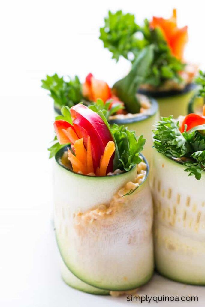 quinoa and hummus zucchini roll ups for a healthy snack
