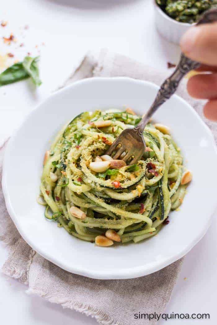 Healthy Pesto Zucchini Noodle with Quinoa | www.simplyquinoa.com | the best weeknight meal EVER! It only takes 5 minutes to make