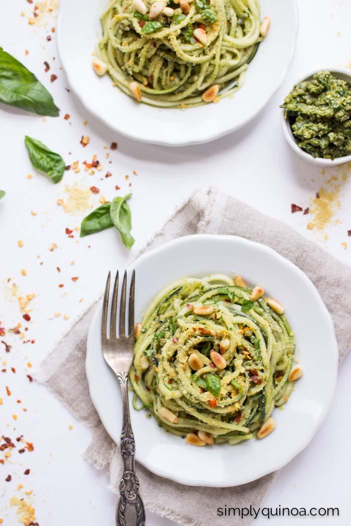 Pesto Zucchini Noodles with Quinoa (vegan + gluten-free)