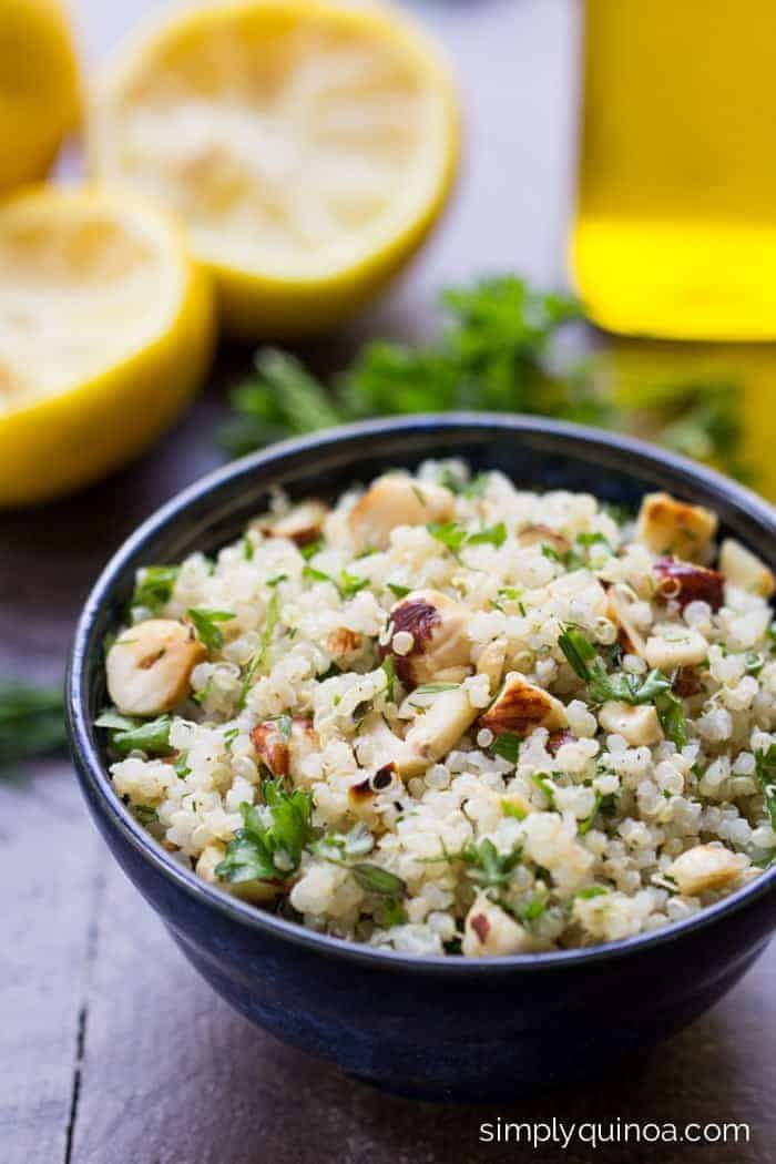 Lemon Herb Quinoa with Toasted Hazelnuts and a peppery vinaigrette | recipe on simplyquinoa.com