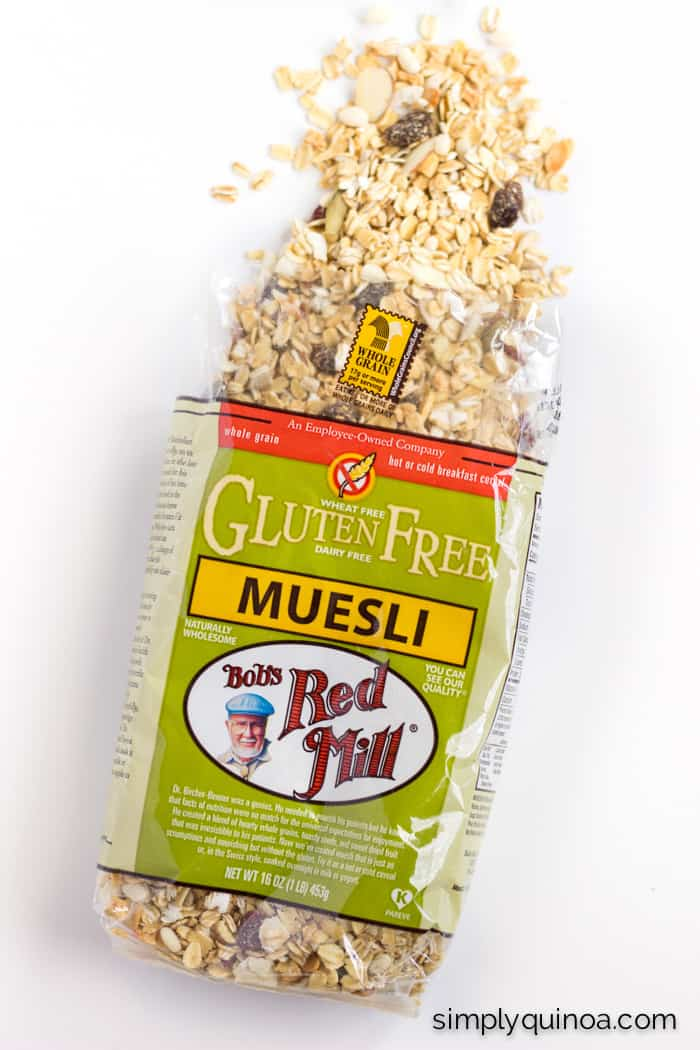 The best gluten-free muesli made from the awesome folks at Bob's Red Mill | energy bite recipe on simplyquinoa.com