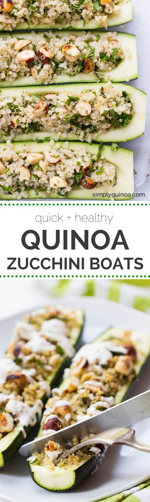 These super quick Quinoa Zucchini Boats make for a healthy + delicious weeknight meal | recipe on simplyquinoa.com