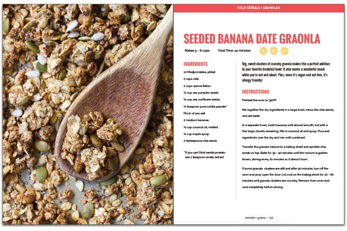 Nut-Free Banana Date Granola from the NEW cookbook by Alyssa Rimmer, Quinoa for Breakfast