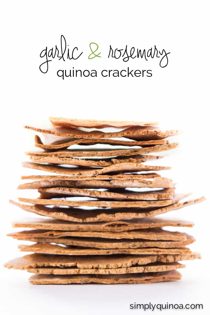 Garlic Rosemary Quinoa Crackers - thin, crispy and perfect for dipping | recipe on simplyquinoa.com