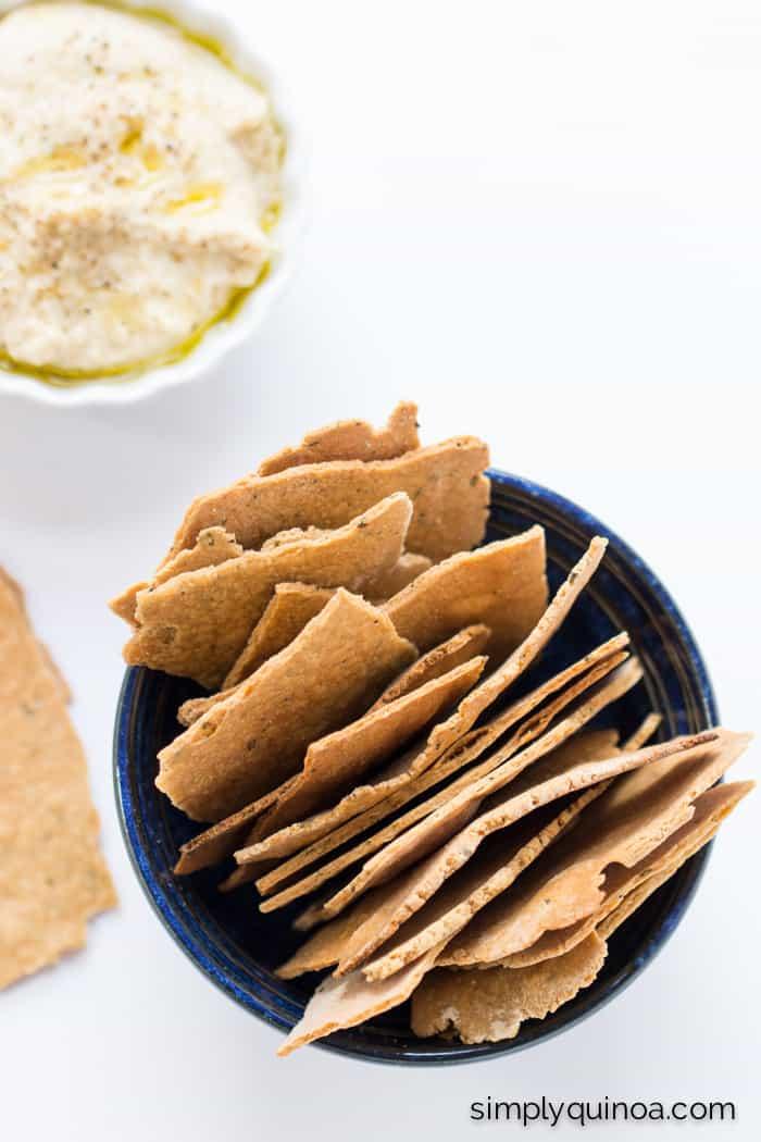 Garlic Rosemary Quinoa Crackers - thin, crispy and perfect for dipping | recipe on simplyquinoa.com