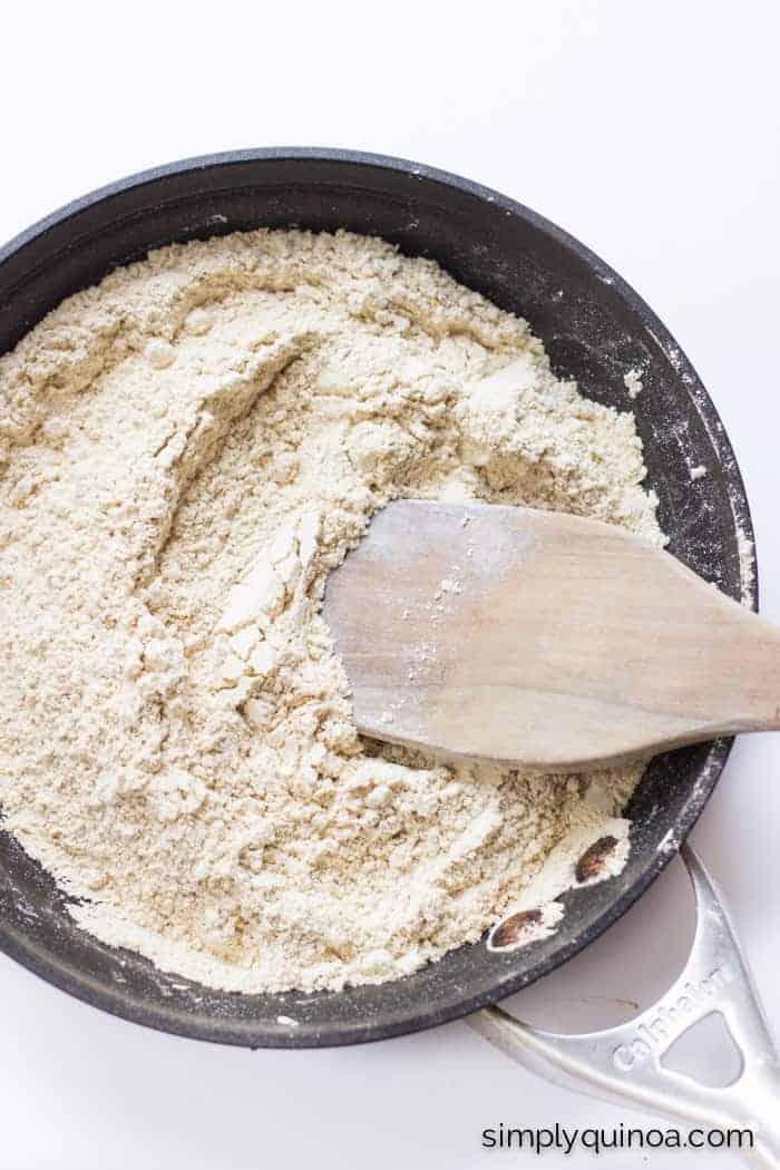How to toast quinoa flour + a recipe for Garlic Rosemary Quinoa Crackers | simplyquinoa.com