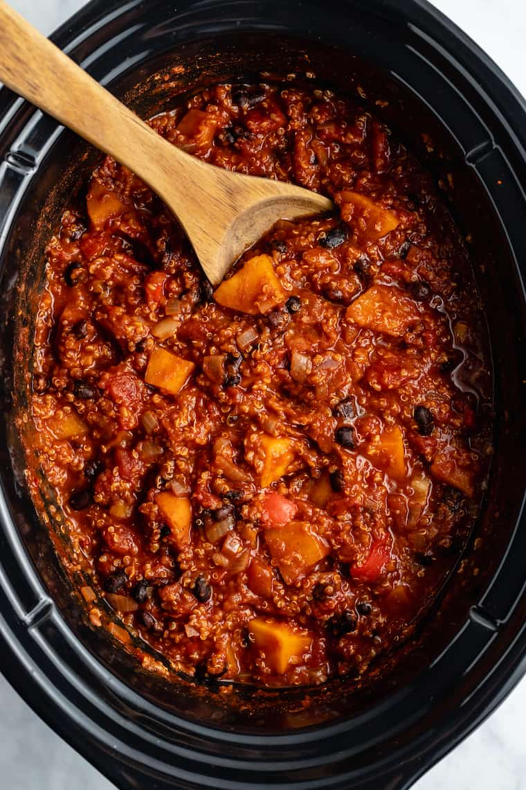 Slow Cooker Quinoa Chili with Sweet Potato