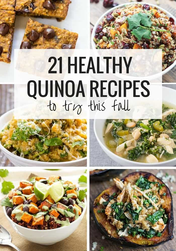 21 Healthy Quinoa Recipes to try this fall - with gluten-free + vegan options included. PLUS they're broken down by ingredient for easy shopping!