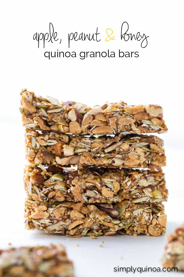 These healthy quinoa granola bars are NO-BAKE, filled with protein and are sweetened with an amazing honey caramel!
