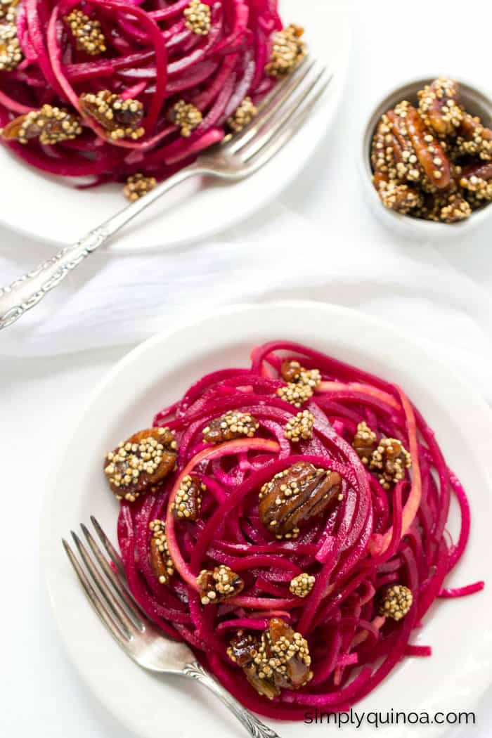 This simple beet noodle salad makes spiralized vegetables fun and delicious! With an easy vinaigrette, it's a hassle-free lunch for dinner option