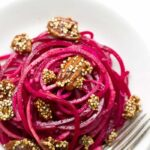 Apple + Beet Noodle Salad with Candied Pecans and Quinoa - a simple, healthy and flavorful salad that's perfect for fall