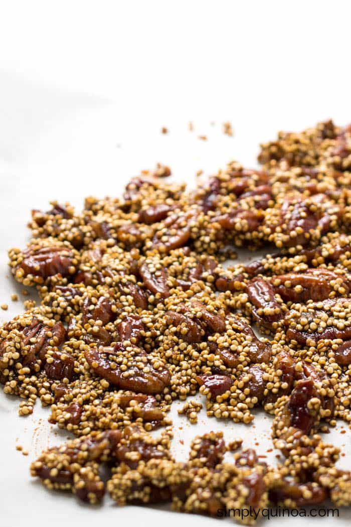 Easy candied pecans using coconut sugar instead of cane sugar! They're easy, healthy and delicious!