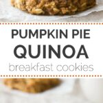 These healthy + VEGAN pumpkin pie quinoa breakfast cookies make for a simple, portable breakfast treat everyone will adore!