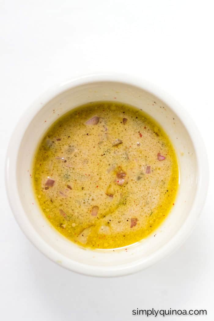 The most AMAZING dressing ever >> Shallots, Capers, Dijon + Lemon! I want to drizzle this all over everything!