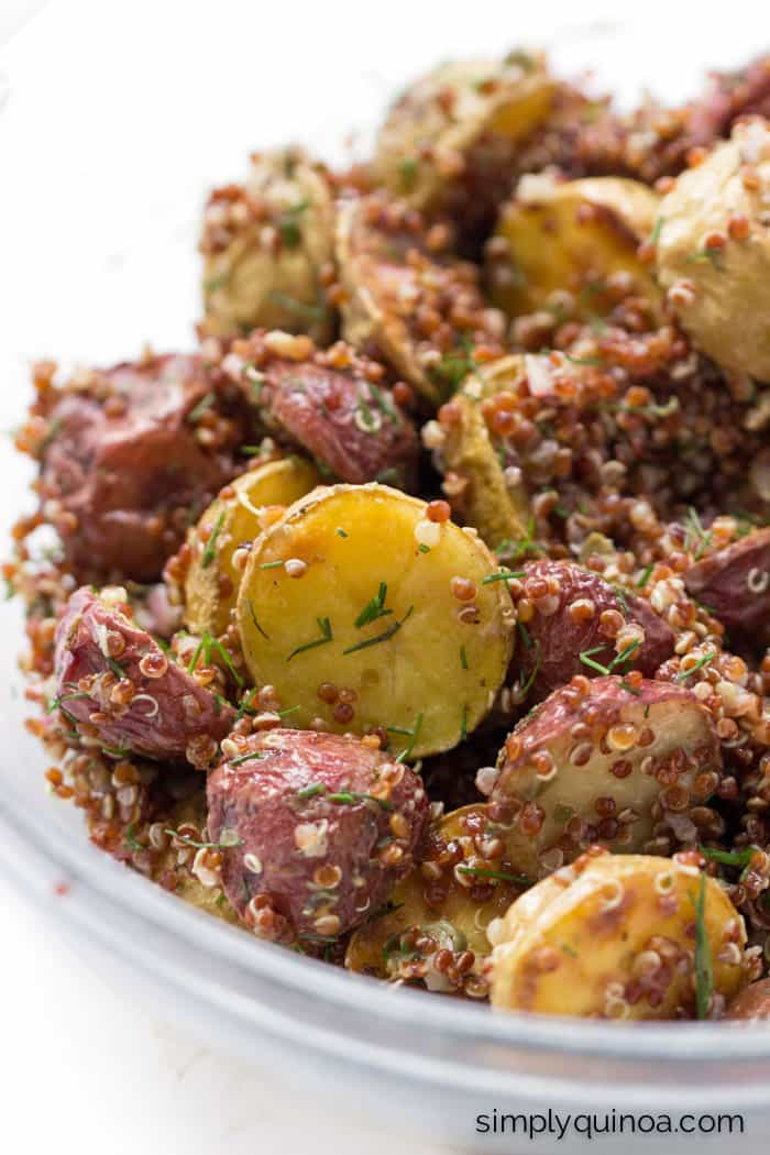 The ULTIMATE potato salad >> using roasted new potatoes, red quinoa and tossed in a shallot-caper dressing