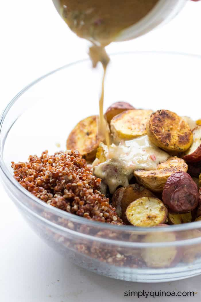 Need to use up some potatoes? Make this AMAZING roasted quinoa and red quinoa salad with a shallot, caper + dijon dressing