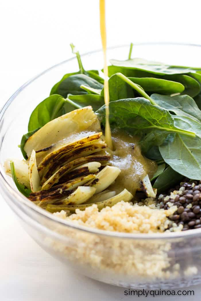 Warm Lentil Salad with Quinoa + Spinach, tossed in a maple-miso dressing