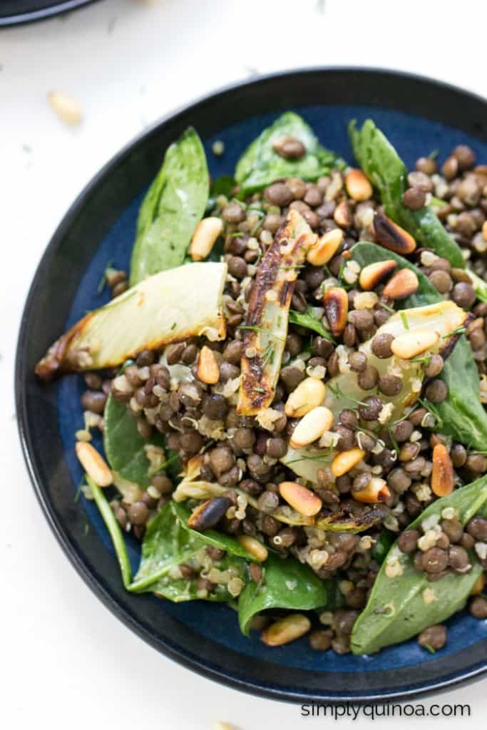This warm lentil salad is tossed with a ton of other goodies to make it extra flavorful + delicious: quinoa, roasted fennel, spinach AND toasted pine nuts
