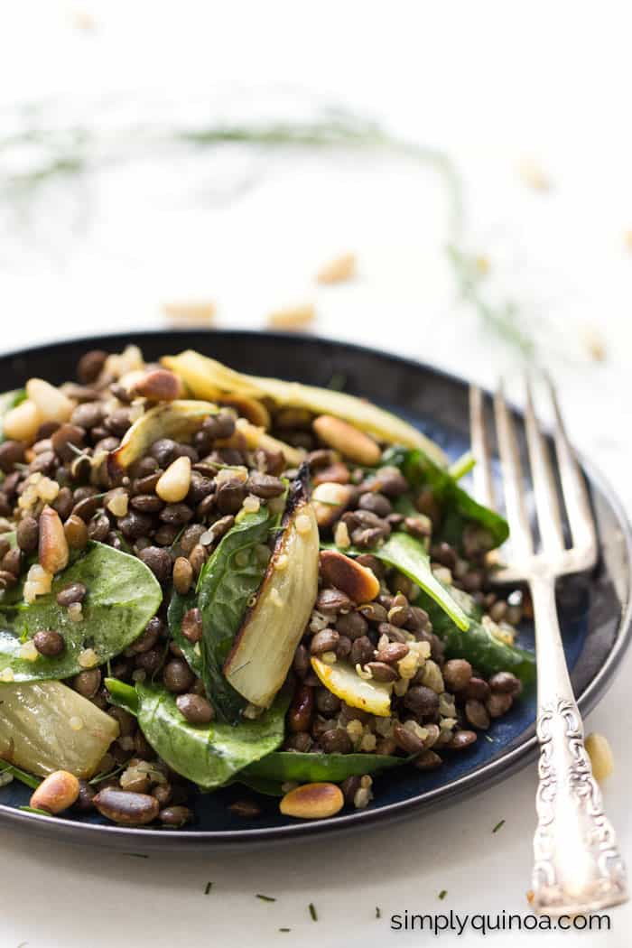 Warm Lentil Salad with spinach, quinoa, roasted fennel + toasted pine nuts - this is seriously the most addicting salad ever!