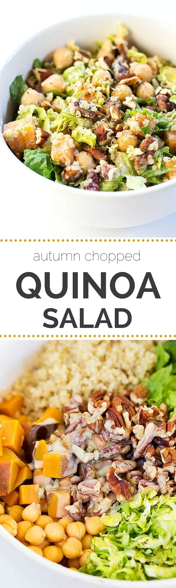 The perfect fall salad >> Autumn Chopped Quinoa Salad with an Apple Cider + Tahini-Sage Dressing