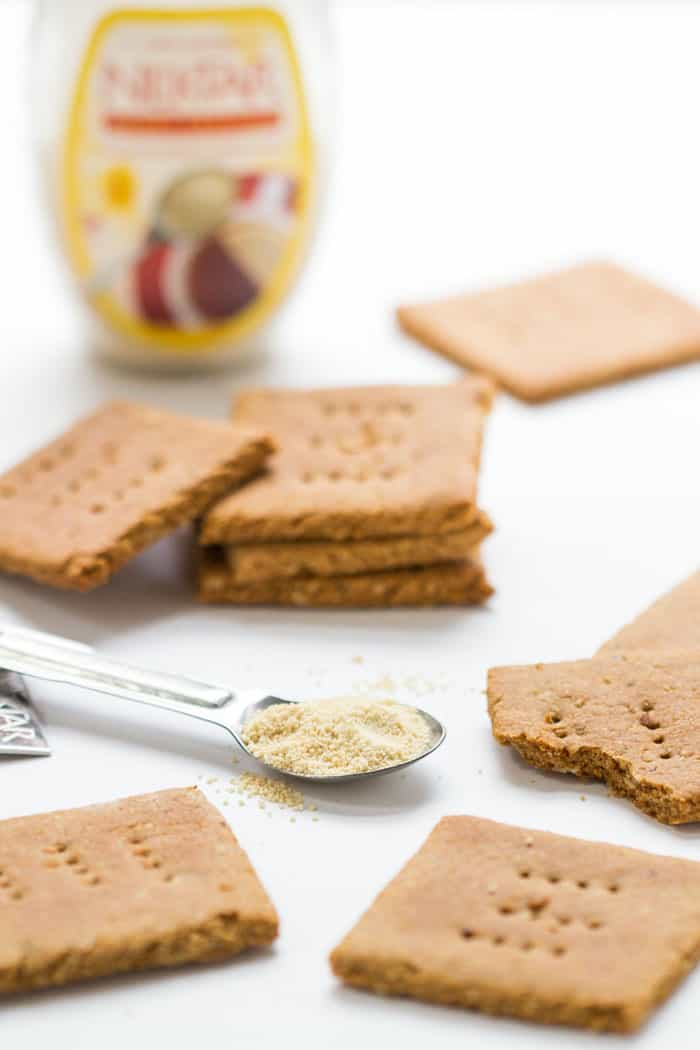 Gluten-Free Honey Graham Crackers - perfect for dunking into a jar of nut butter OR making a tasty s'mores!