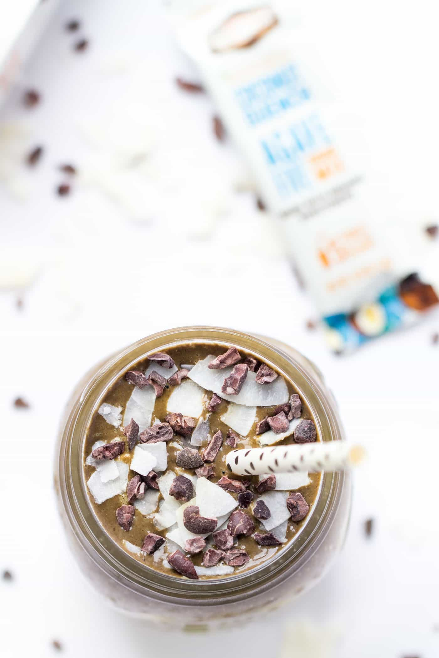 A healthy almond joy smoothie, inspired by the candy bar! This smoothie is naturally sweetened with dates and frozen banana, and made super creamy with the addition of coconut milk and quinoa!