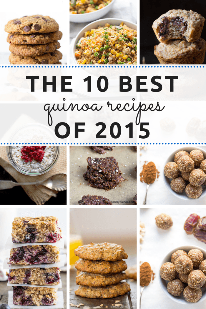 The 10 BEST quinoa recipes of 2015 -- everything from breakfast, desserts, cookies AND pizza!! All are GLUTEN-FREE and HEALTHY too!