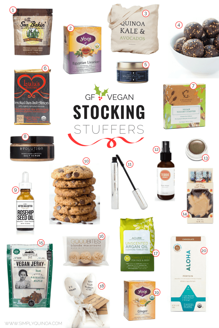 The ULTIMATE stocking stuffer guide filled with your favorite gluten-free and vegan products. From snacks, sweets, toxic-free facial products and fun kitchen tools!