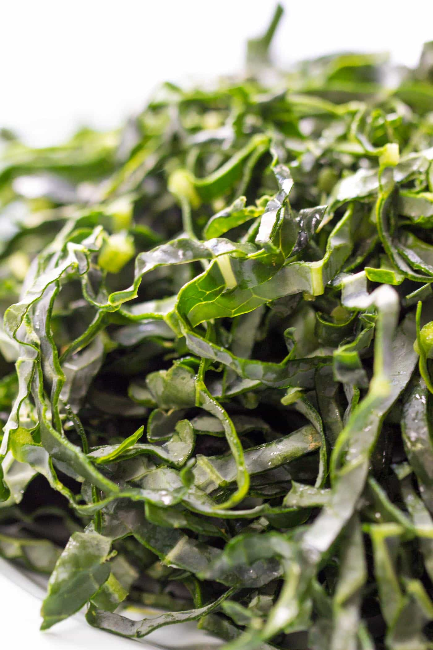 Finely shredded kale makes the perfect base for a detoxifying salad -- just slice it super thinly and add whatever toppings you'd like!
