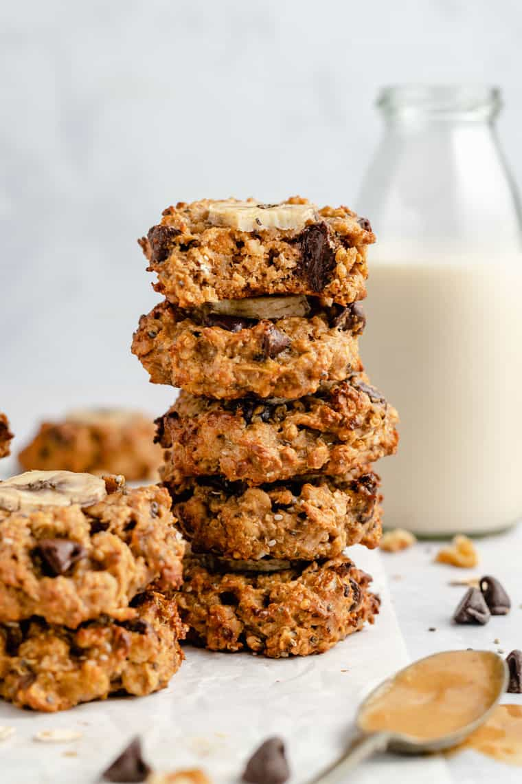 stack of vegan breakfast cookies in chunky monkey flavor