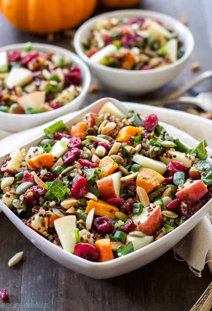 warm harvest quinoa salad with apples and sweet potato