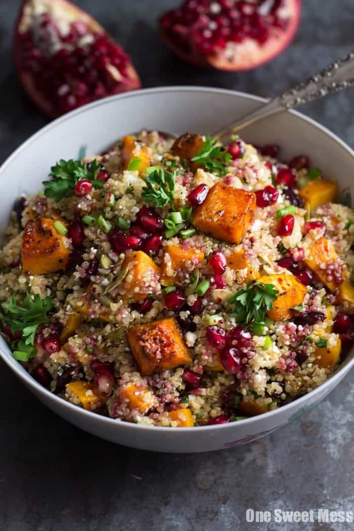 roasted butternut squash and quinoa salad with kale and pomegranates