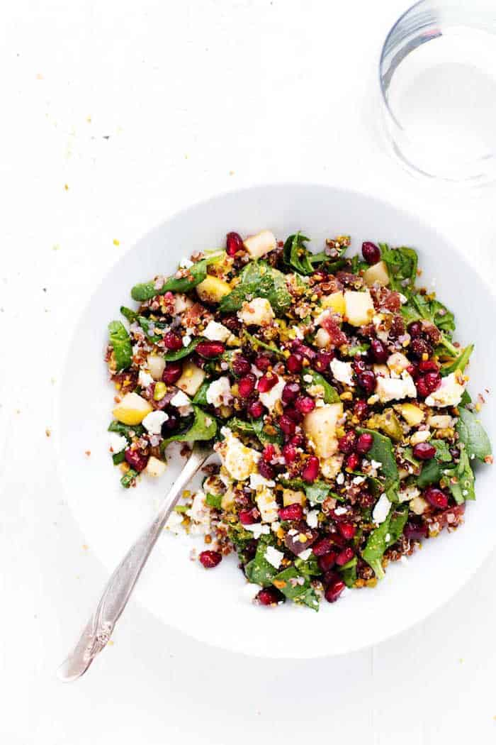 winter rainbowl quinoa salad with pomegranates