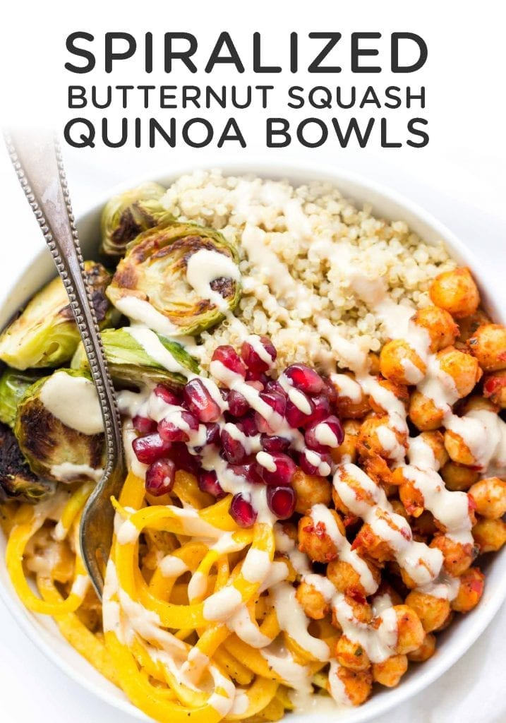 Spiralized Butternut Squash Bowls with Harissa Spiced Chickpeas and Quinoa