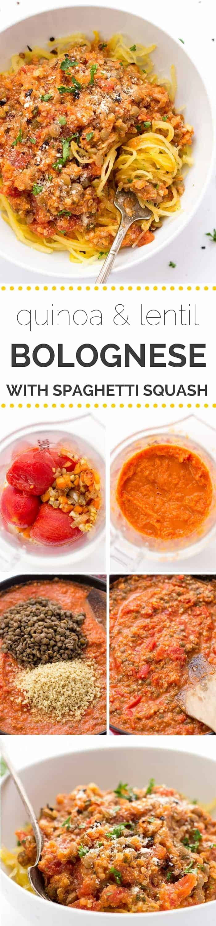 This super HEALTHY & VEGAN bolognese sauce is made with lentils + quinoa -- it's meaty without the meat products! [gf + df]