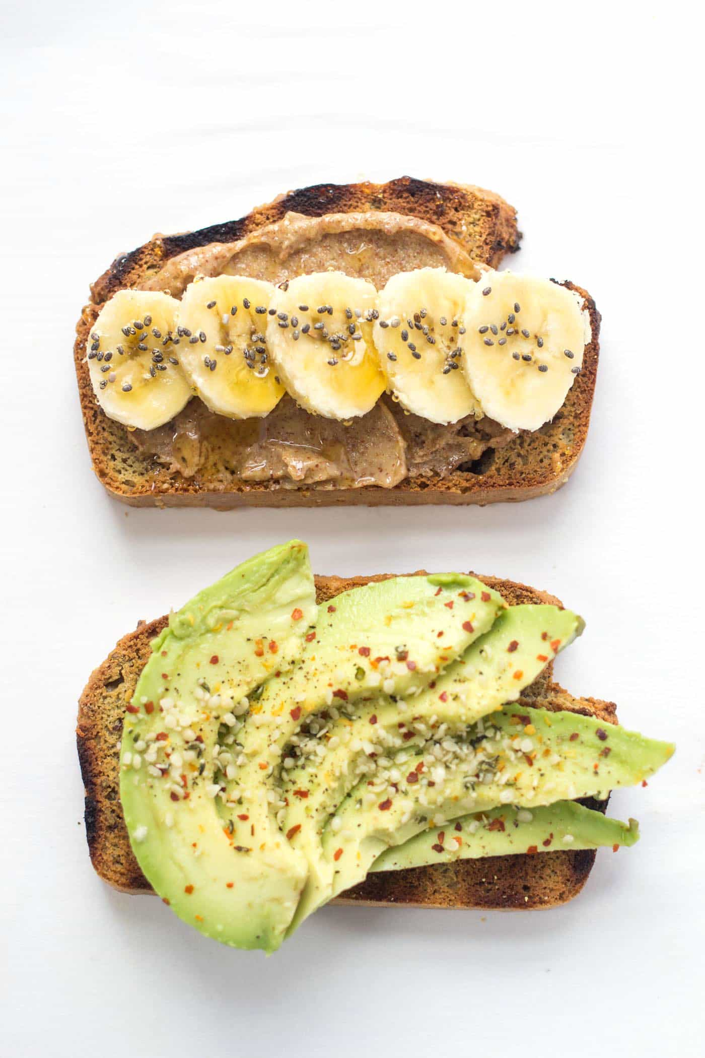 QUINOA ALMOND FLOUR BREAD makes the best breakfast toasts -- top: peanut butter + banana, bottom: sliced avocado and pepper flakes