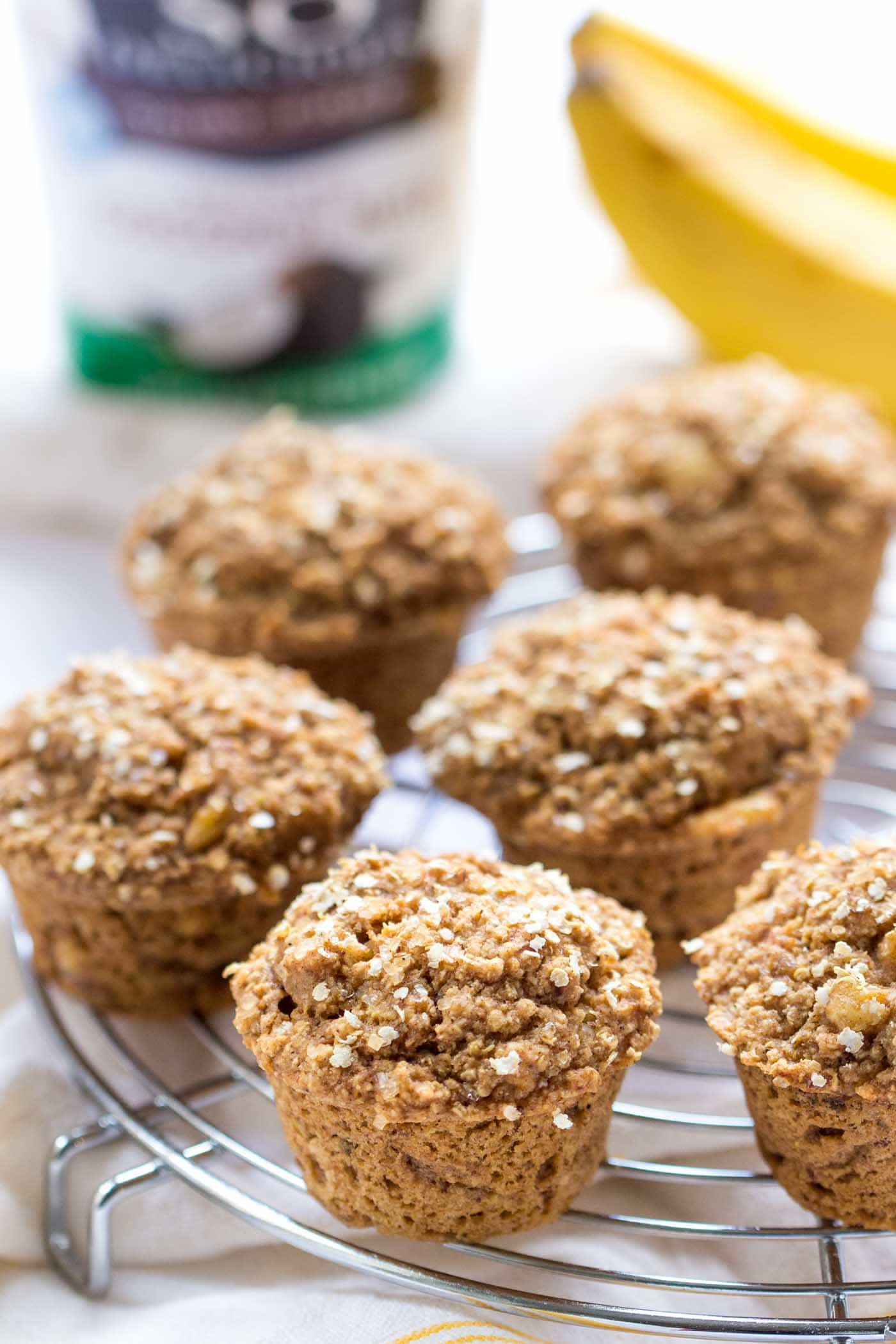 Simple AND delicious quinoa muffins made with coconut yogurt and sweetened naturally {vegan + GF}