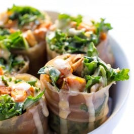 Sweet Potato + Kale Quinoa Spring Rolls -- a seasonal spin on a delicious gluten-free meal (they make great leftovers too!)