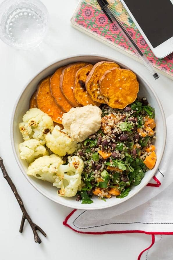 black bean quinoa salad with sweet potatoes and cauliflower