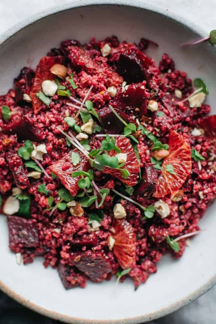 pink quinoa salad with roasted beets