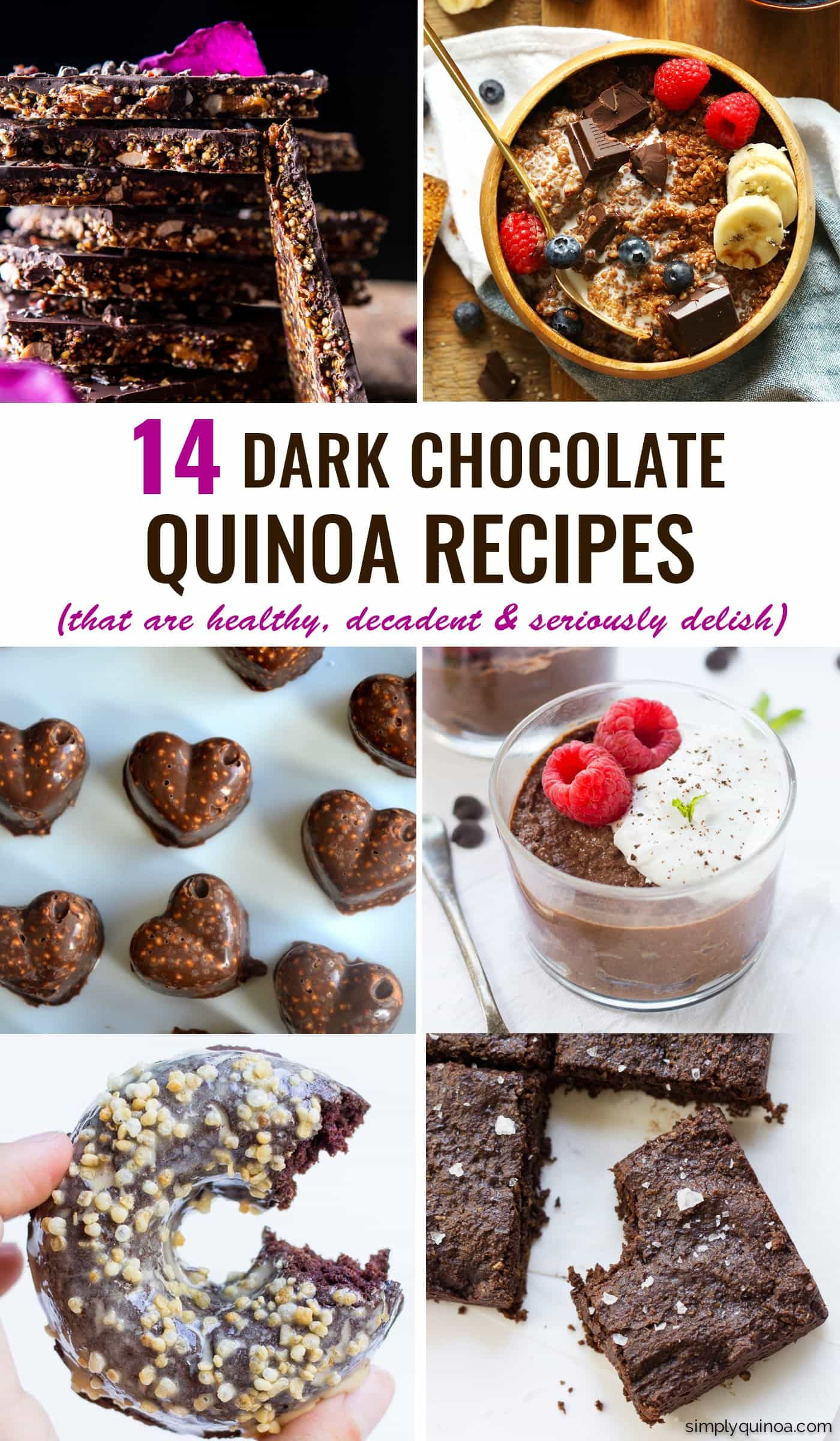 The 14 BEST dark chocolate quinoa recipes you will ever find! From easy breakfasts to decadent desserts, each one is healthy and delicious!