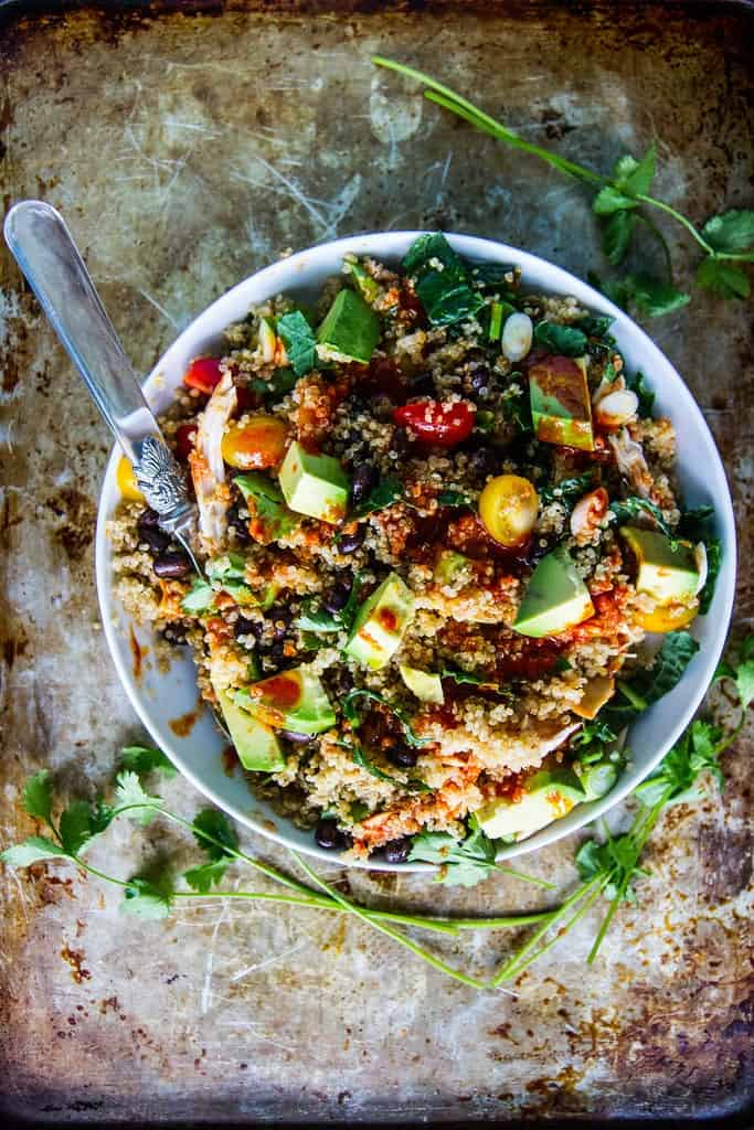 black bean quinoa bowls with a simple harissa dressing