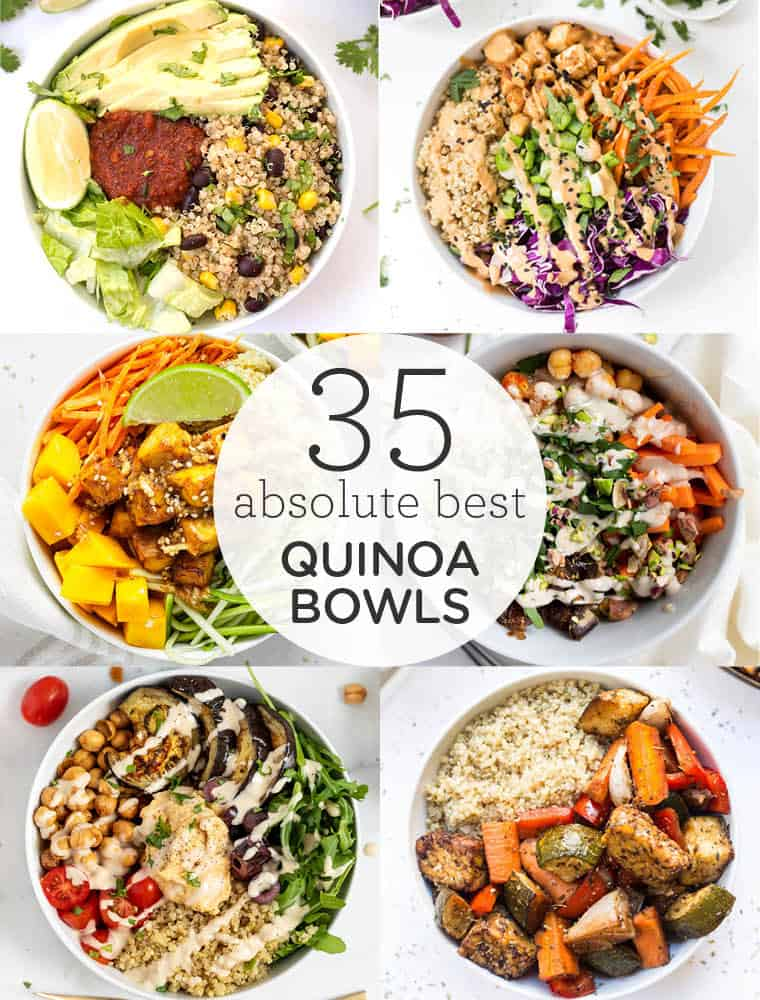 collage of the 35 best quinoa bowls